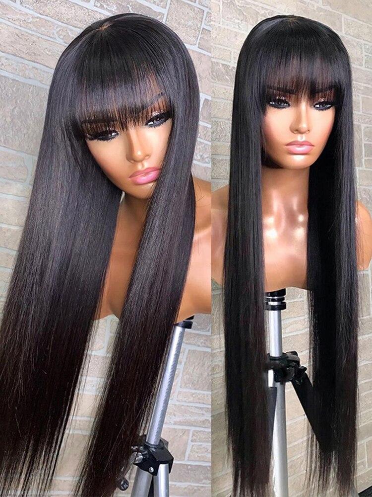 Human Hair Wigs with Bangs Straight Short  Bob Hair Full Machine Made Fringe Wig Human Hair For Black Women Brazilian Remy Wig